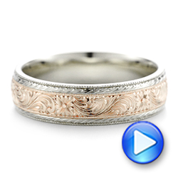 Custom Men's Hand Engraved Wedding Band - Interactive Video - 102431 - Thumbnail