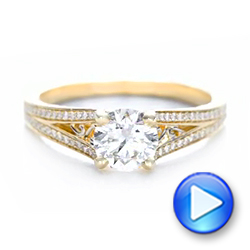 14k Yellow Gold And Platinum 14k Yellow Gold And Platinum Custom Two-tone Diamond Engagement Ring - Video -  102433 - Thumbnail