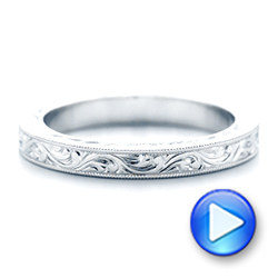 14k White Gold Hand Engraved Wedding Band - Video -  102436 - Thumbnail