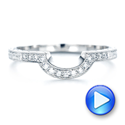 Custom Diamond and Hand Engraved Wedding Band - Interactive Video - 102441 - Thumbnail