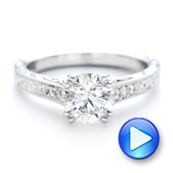 Custom Diamond and Hand Engraved Engagement Ring - Interactive Video - 102445 - Thumbnail