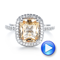 14k White Gold Custom Peach Sapphire And Diamond Halo Engagement Ring - Video -  102448 - Thumbnail