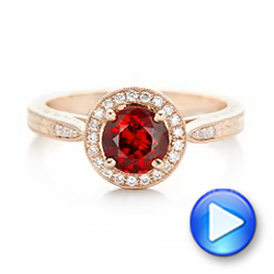 Custom Rose Gold Ruby and Diamond Engagement Ring - Interactive Video - 102453 - Thumbnail