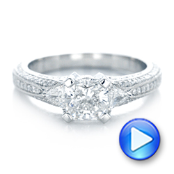 Platinum Custom Diamond Engagement Ring - Video -  102457 - Thumbnail