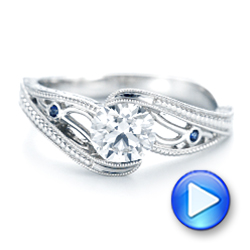 Custom Diamond and Hand Engraved Engagement Ring - Interactive Video - 102458 - Thumbnail