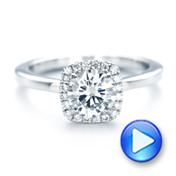 Custom Diamond Halo Engagement Ring - Interactive Video - 102460 - Thumbnail