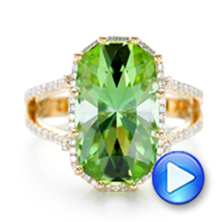 18k Yellow Gold Custom Green Tourmaline And Diamond Halo Fashion Ring - Video -  102466 - Thumbnail