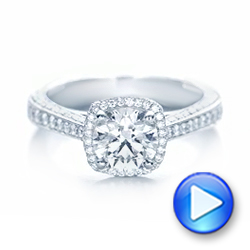 Platinum Custom Diamond Halo Engagement Ring - Video -  102468 - Thumbnail