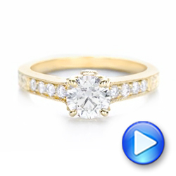 Custom Yellow Gold Diamond Engagement Ring - Interactive Video - 102471 - Thumbnail