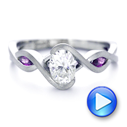 Custom Diamond and Purple Sapphire Engagement Ring - Interactive Video - 102472 - Thumbnail