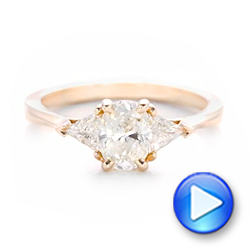 18K Rose Gold Custom Rose Gold Three Stone Engagement Ring - Interactive Video - 102473 - Thumbnail