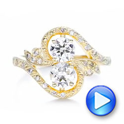 14k Yellow Gold Custom Diamond Arts And Crafts Style Fashion Ring - Video -  102478 - Thumbnail