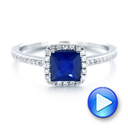 14k White Gold Custom Blue Sapphire And Diamond Halo Engagement Ring - Video -  102485 - Thumbnail