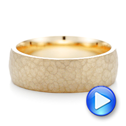 Men's Yellow Gold Hammered Matte Finish Wedding Band - Interactive Video - 102504 - Thumbnail