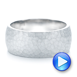 Men's White Gold Hammered Matte Finish Wedding Band - Interactive Video - 102505 - Thumbnail