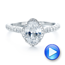14k White Gold Oval Diamond Halo And Pave Hand Engraved Engagement Ring - Video -  102506 - Thumbnail