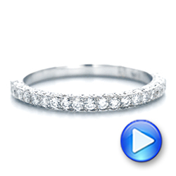 14k White Gold Pave Diamond Hand Engraved Wedding Band - Video -  102507 - Thumbnail