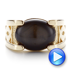 Custom Men's Black Star Sapphire Ring - Video -  102518 - Thumbnail