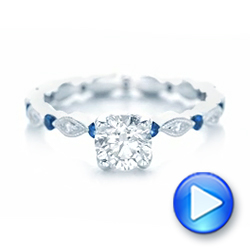Custom Blue Sapphire and Diamond Engagement Ring - Interactive Video - 102520 - Thumbnail
