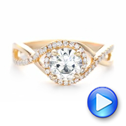 Custom Rose Gold and Diamond Halo Engagement Ring - Interactive Video - 102525 - Thumbnail
