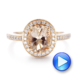 Morganite and Diamond Halo Fashion Ring - Interactive Video - 102532 - Thumbnail
