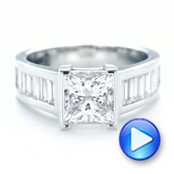 Custom Princess Cut Diamond Engagement Ring - Interactive Video - 102536 - Thumbnail