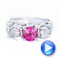 14k White Gold Custom Pink Sapphire And Diamond Engagement Ring - Video -  102547 - Thumbnail