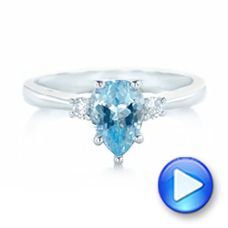 Custom Three Stone Aquamarine and Diamond Engagement Ring - Interactive Video - 102548 - Thumbnail