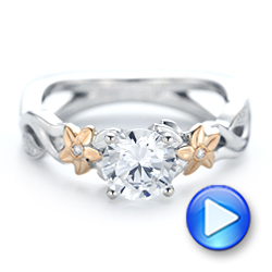 Two-Tone Flower and Leaf Diamond Engagement Ring - Interactive Video - 102554 - Thumbnail