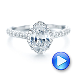 14k White Gold Oval Diamond Halo And Pave Engagement Ring - Video -  102556 - Thumbnail