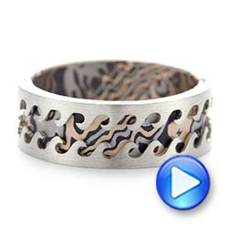 Wave Mokume Men's Wedding Band - Video -  102562 - Thumbnail