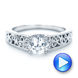 Vine Filigree Solitaire Diamond Engagement Ring - Interactive Video - 102565 - Thumbnail