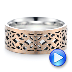 18K Gold And 14k Rose Gold 18K Gold And 14k Rose Gold Two-tone Filigree Men's Wedding Band - Video -  102568 - Thumbnail