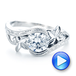 18k White Gold Organic Leaf Solitaire Diamond Engagement Ring - Video -  102580 - Thumbnail