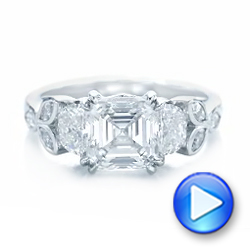 Platinum Custom Diamond Engagement Ring - Video -  102594 - Thumbnail