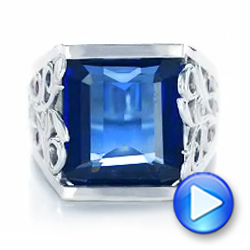 18k White Gold 18k White Gold Custom Blue Sapphire Ruby And Diamond Fashion Ring - Video -  102596 - Thumbnail