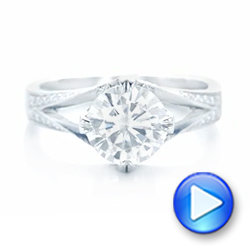 Platinum Custom Diamond Engagement Ring - Video -  102601 - Thumbnail