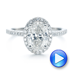 Platinum Custom Oval Diamond And Halo Engagement Ring - Video -  102607 - Thumbnail