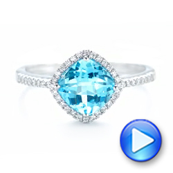 Blue Topaz and Diamond Halo Ring - Interactive Video - 102617 - Thumbnail