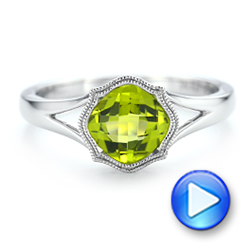 14k White Gold Solitaire Peridot Ring - Video -  102635 - Thumbnail