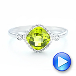 14k White Gold Peridot And Diamond Ring - Video -  102637 - Thumbnail