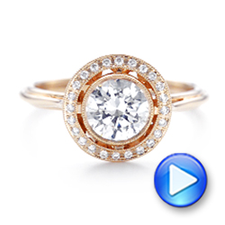 Rose Gold Diamond Halo Engagement Ring - Interactive Video - 102673 - Thumbnail