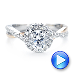 14k White Gold And 14K Gold Two-tone Halo Criss-cross Engagement Ring - Video -  102678 - Thumbnail