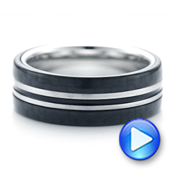 Tungsten and Black Carbon Fiber Men's Band - Interactive Video - 102680 - Thumbnail
