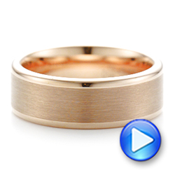 Rose Tungsten Satin Finish Men's Wedding Band - Interactive Video - 102681 - Thumbnail