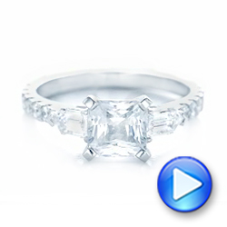14k White Gold 14k White Gold Custom White Sapphire And Diamond Engagement Ring - Video -  102687 - Thumbnail
