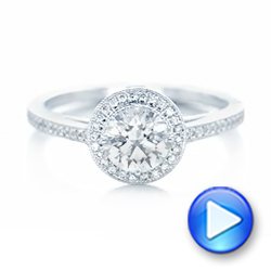 Platinum Platinum Custom Diamond Halo Engagement Ring - Video -  102692 - Thumbnail