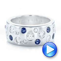 14k White Gold Custom Blue Sapphire And Diamond Wedding Band - Video -  102697 - Thumbnail