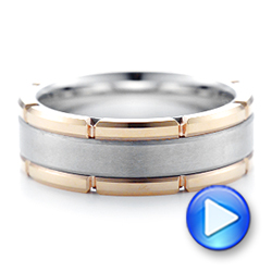 Rose Tungsten Two-tone Wedding Band - Video -  102701 - Thumbnail