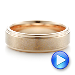 Rose Tungsten Carbide Step Edge Comfort Fit Band with Satin Center and Bright Polish Edges - Interactive Video - 102716 - Thumbnail